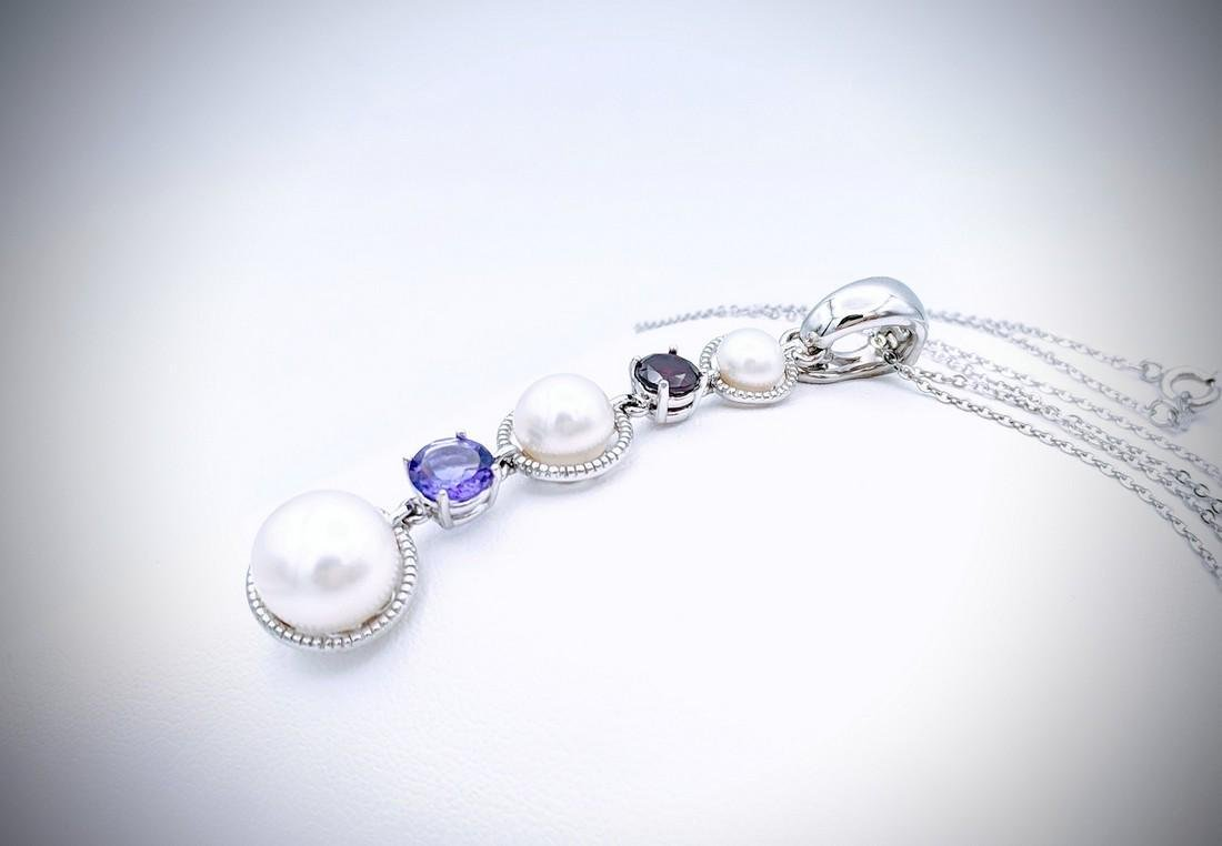 Sterling Silver Necklace with Triple Drop Pearl, Red - 2