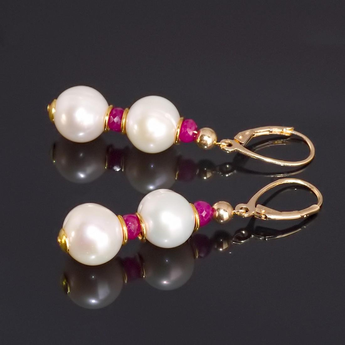 Classic Style Pearls and Rubies Earrings