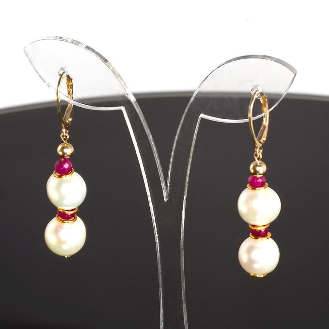 Classic Style Pearls and Rubies Earrings - 2