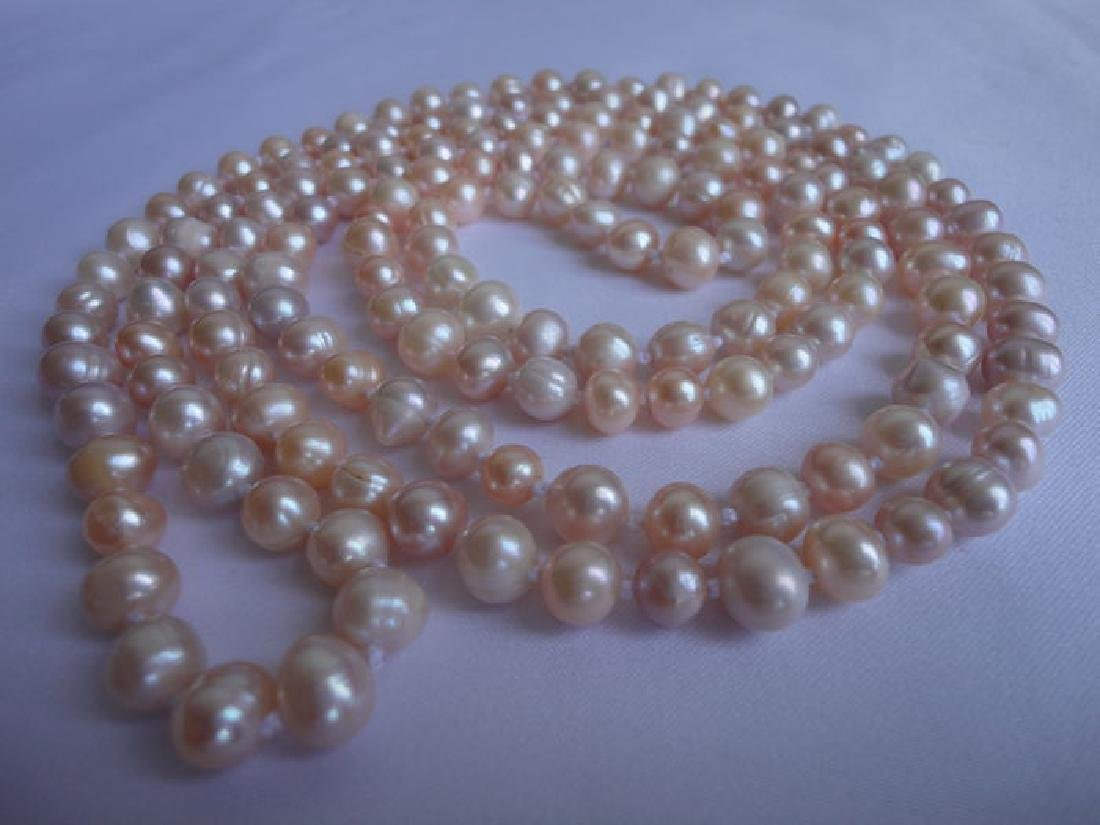 Soft pink fresh water pearls – 135 cm long necklace - 3