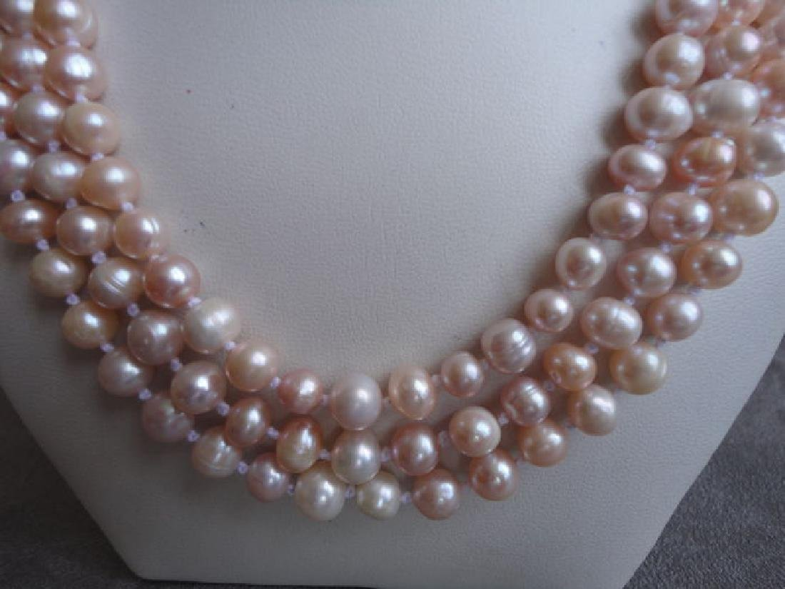 Soft pink fresh water pearls – 135 cm long necklace - 4