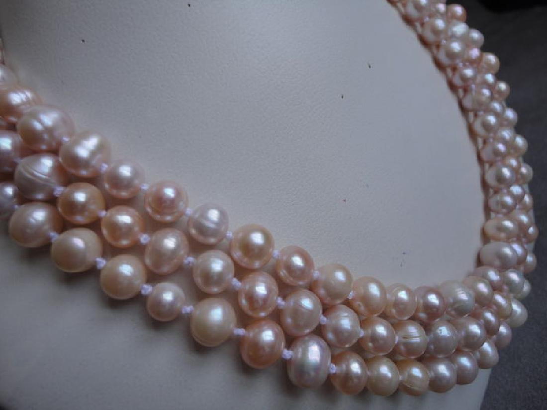 Soft pink fresh water pearls – 135 cm long necklace - 5