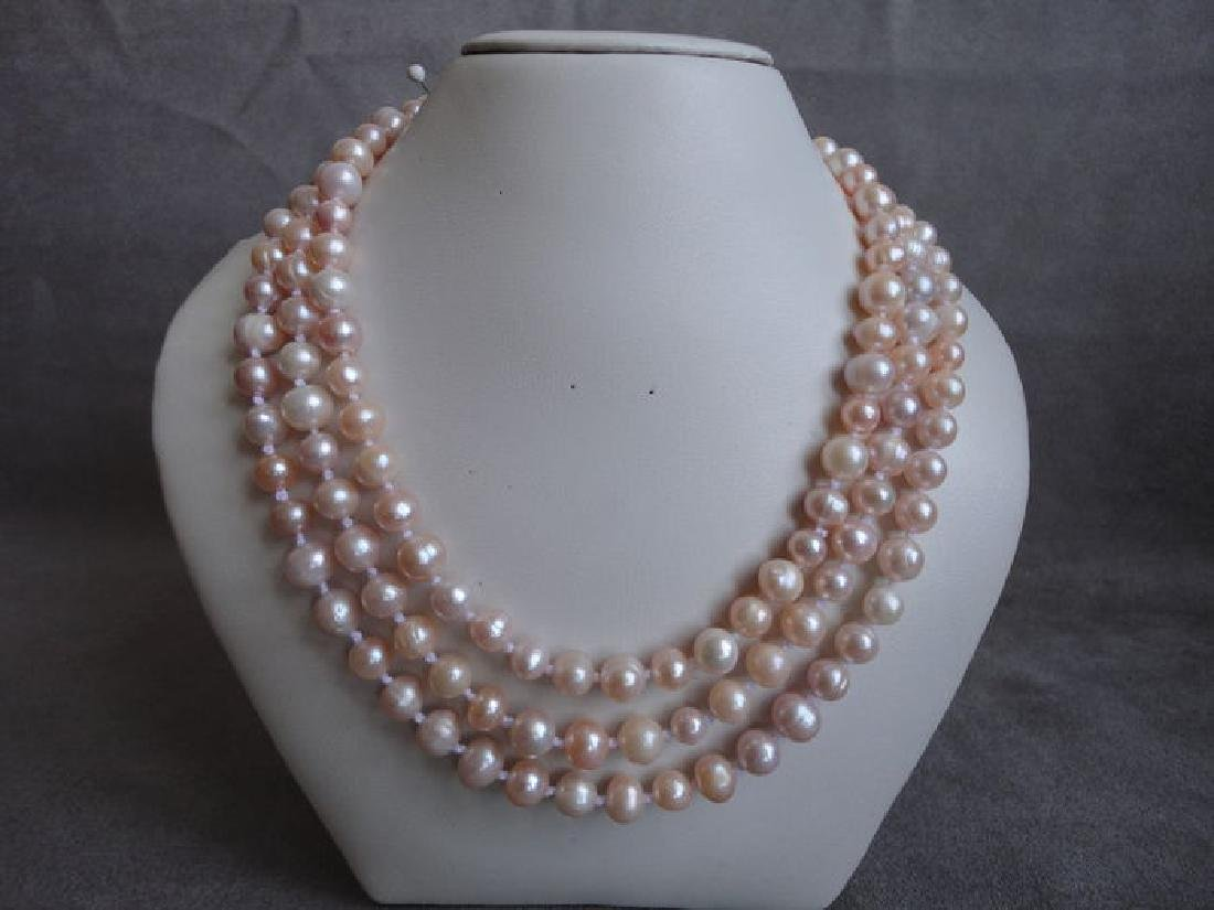 Soft pink fresh water pearls – 135 cm long necklace - 7