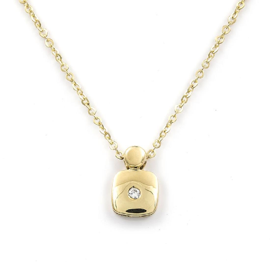 Yellow gold necklace and pendant with brilliant cut
