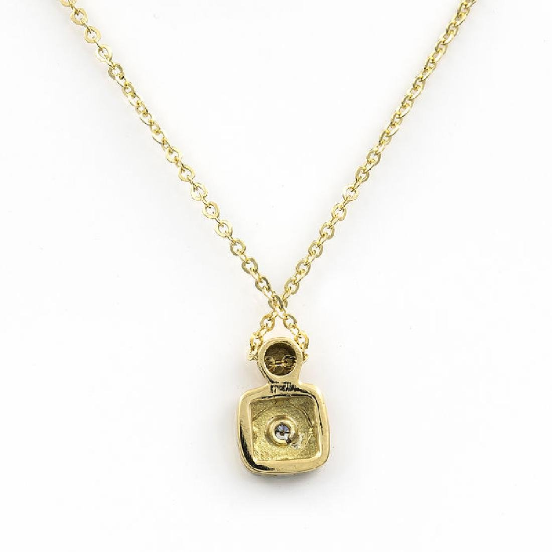 Yellow gold necklace and pendant with brilliant cut - 2