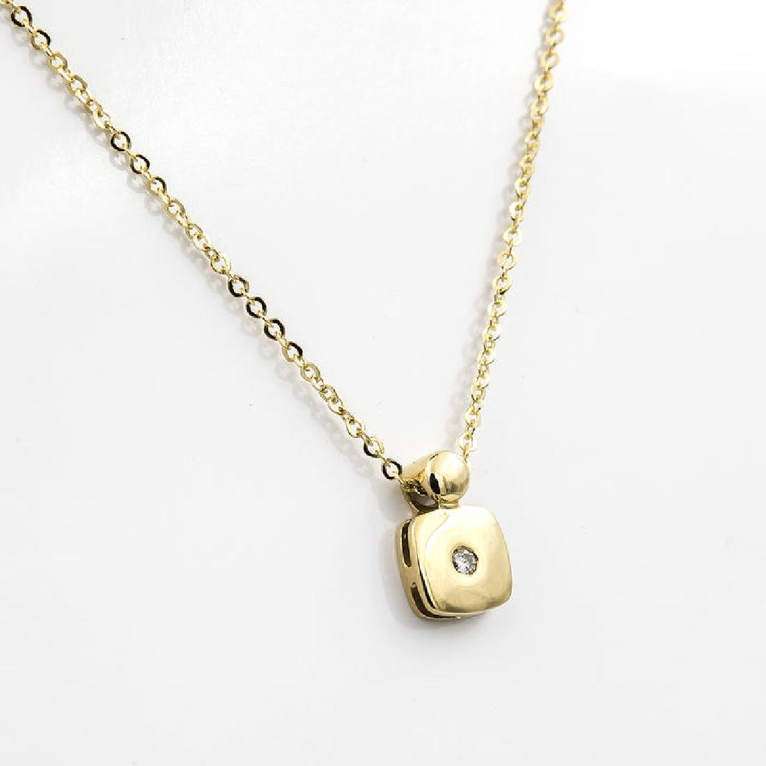 Yellow gold necklace and pendant with brilliant cut - 3