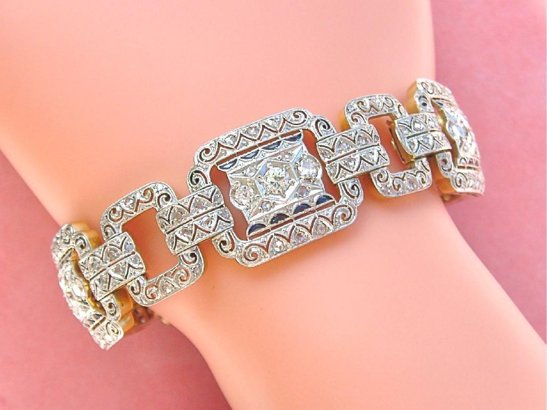 ANTIQUE ART DECO 5.25ctw MINE & ROSE DIAMOND SAPPHIRE