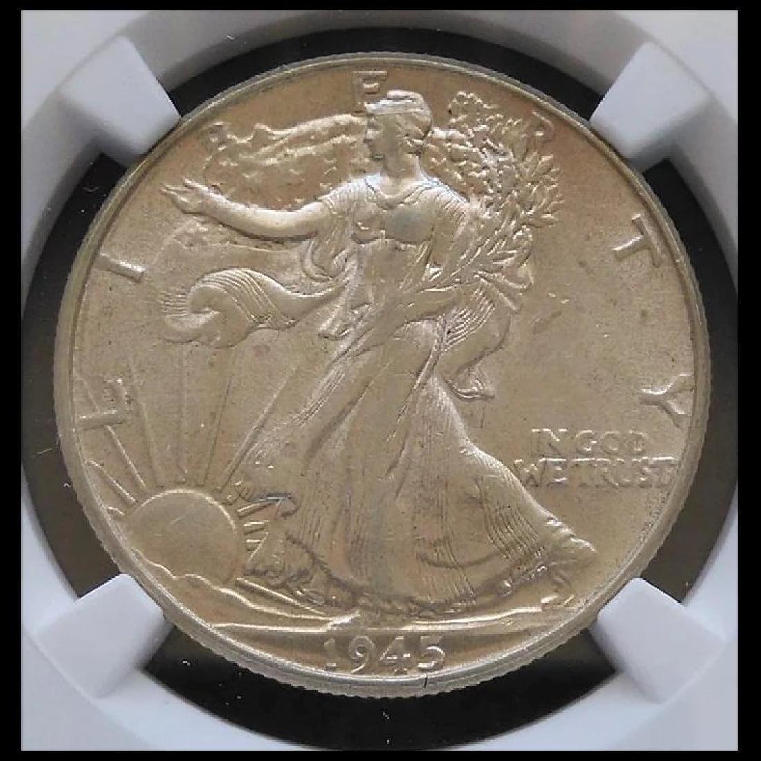 1945-P Walking Liberty Half Dollar Slabbed NGC AU53