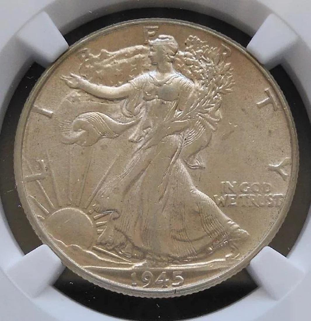 1945-P Walking Liberty Half Dollar Slabbed NGC AU53 - 2
