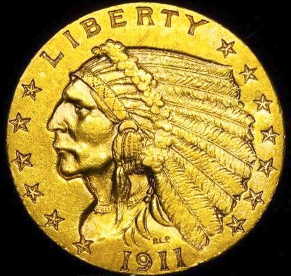 1911 Gold Quarter Eagle Striking Color. Beautiful