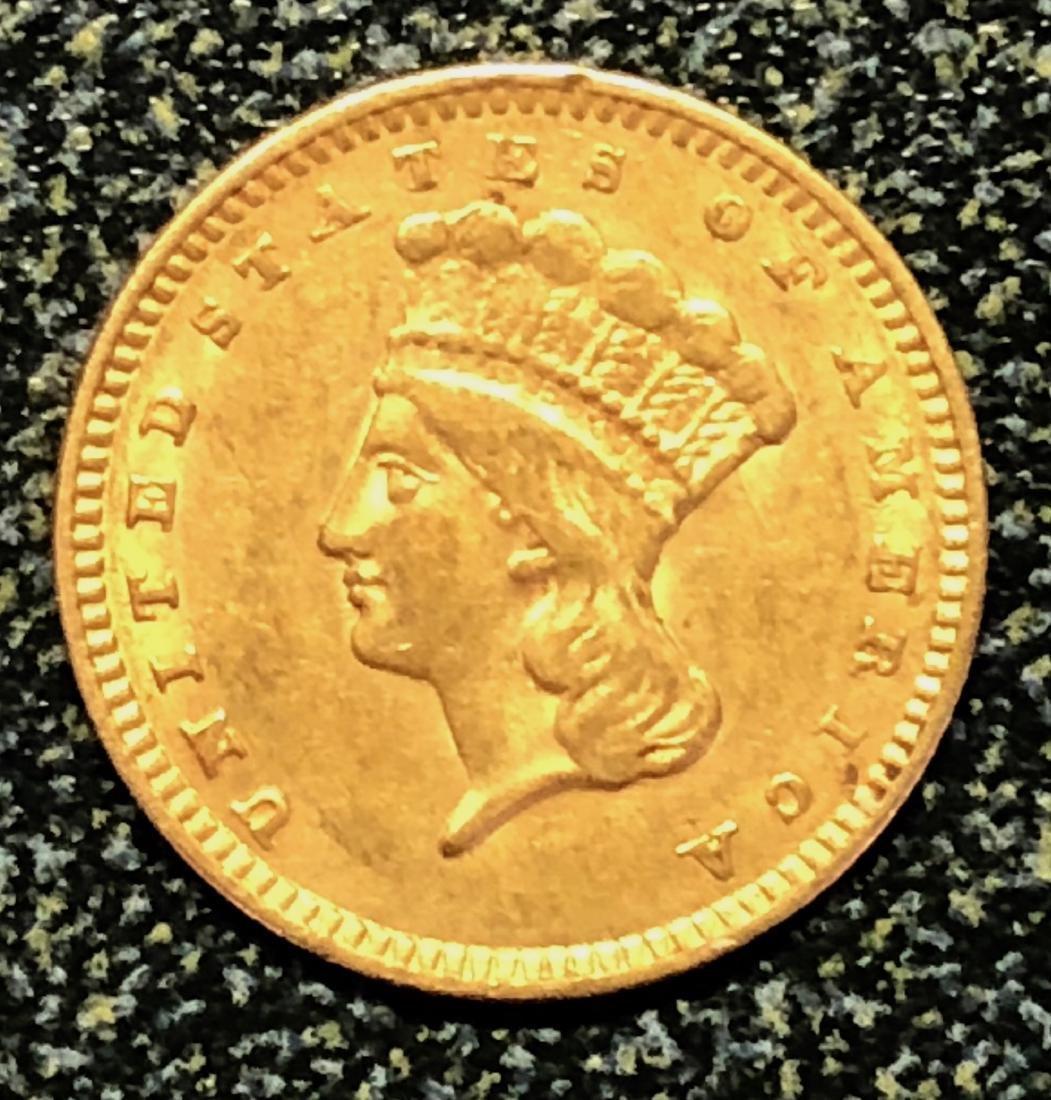1856 Slanted 5 Gold Indian Princess $1