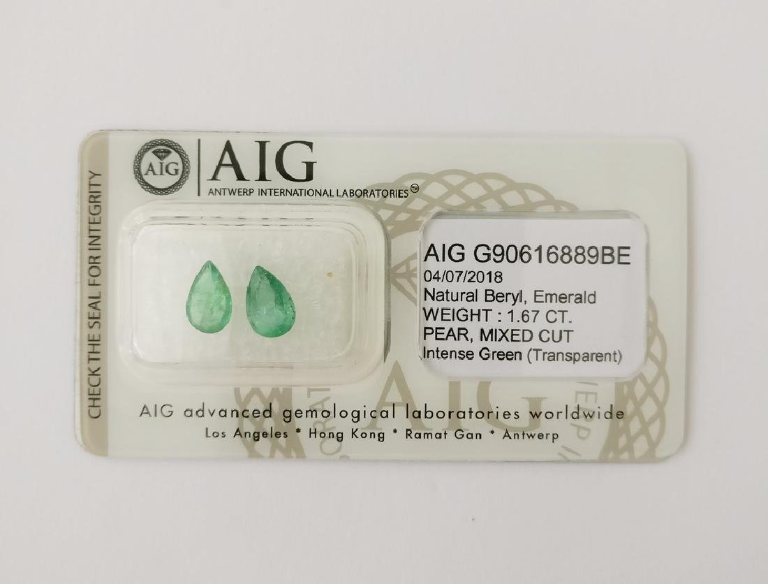 Couple of 2 Emerald's Intense Green 1.67 ct