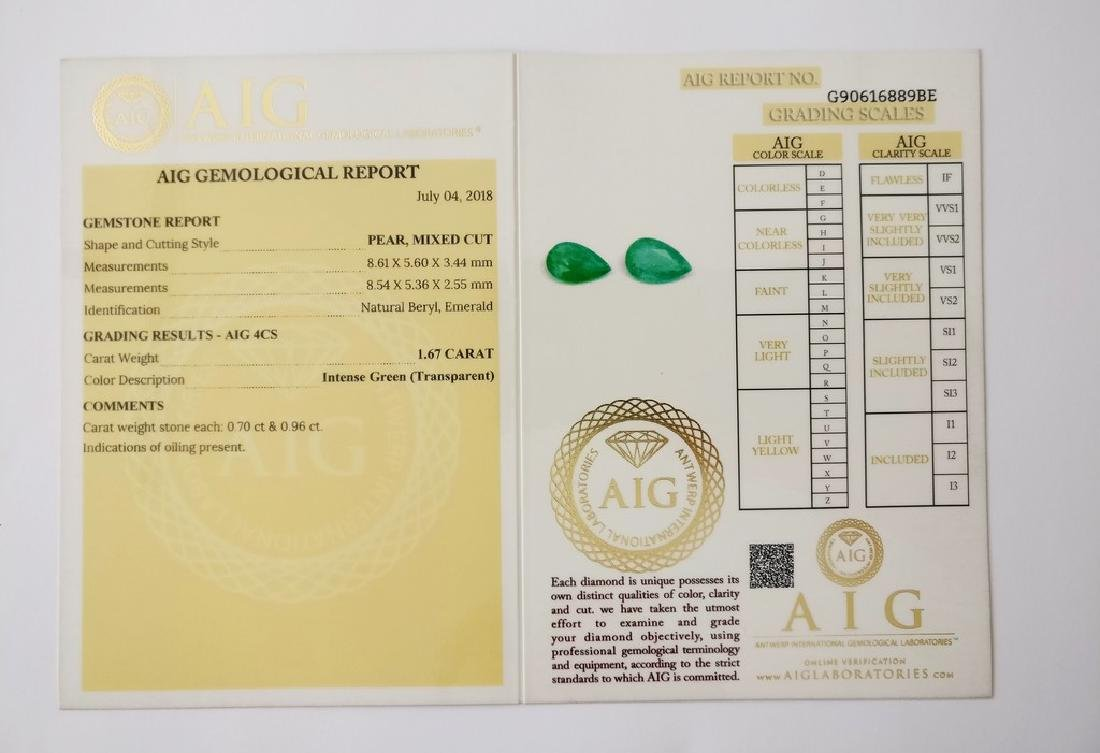 Couple of 2 Emerald's Intense Green 1.67 ct - 4