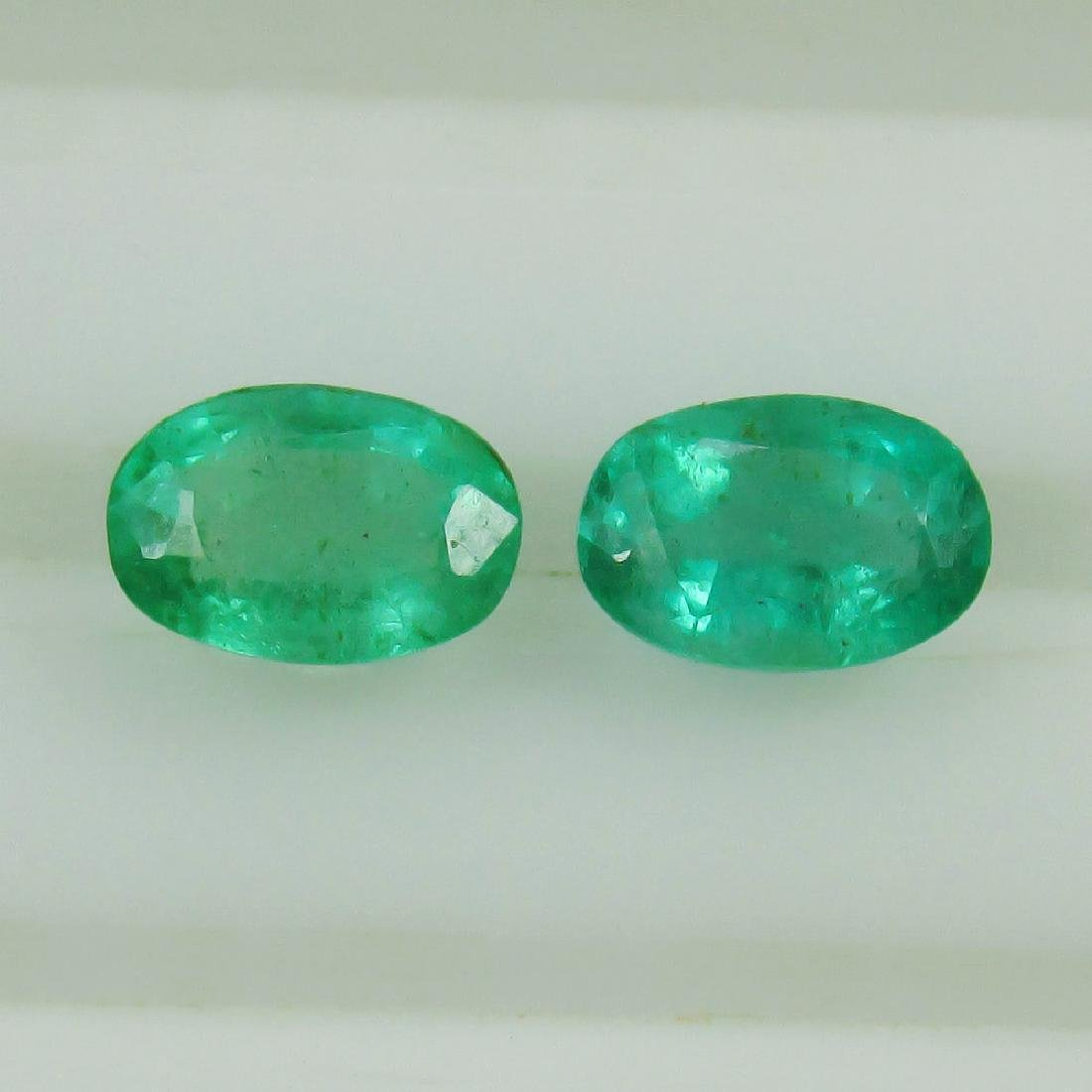 1.00 Ct Genuine Loose Zambian Emerald 6X4 mm Oval Pair