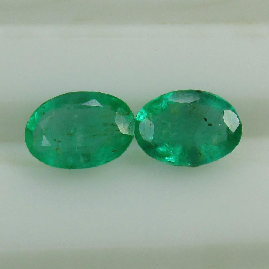 1.65 Ct Genuine Loose Zambian Emerald Oval Pair Very