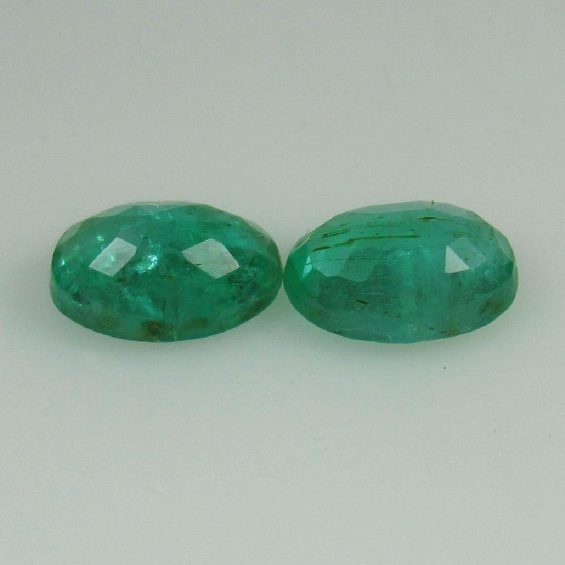 1.65 Ct Genuine Loose Zambian Emerald Oval Pair Very - 2