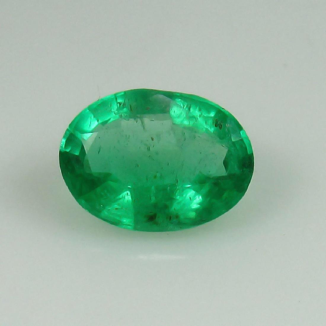 0.95 Ct Genuine Zambian Emerald 8X6 mm Oval cut Top - 2