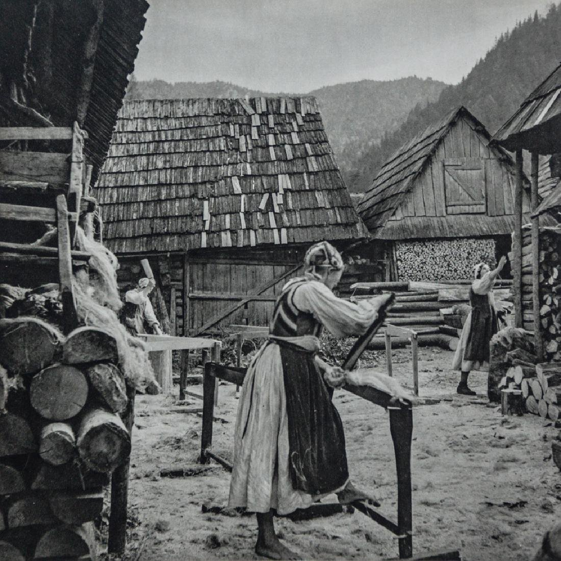 WERNER BISCHOF - Women in Village Preparing Flax
