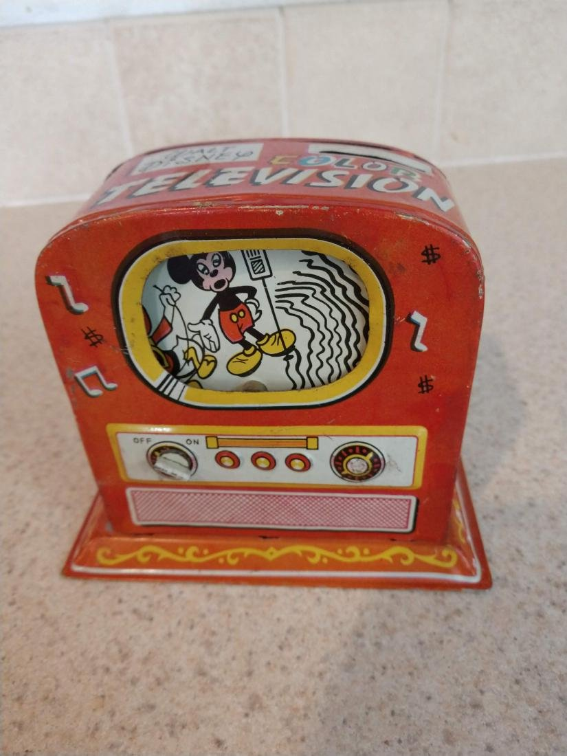 Walt Disney Color Television Bank tin mechanical toy