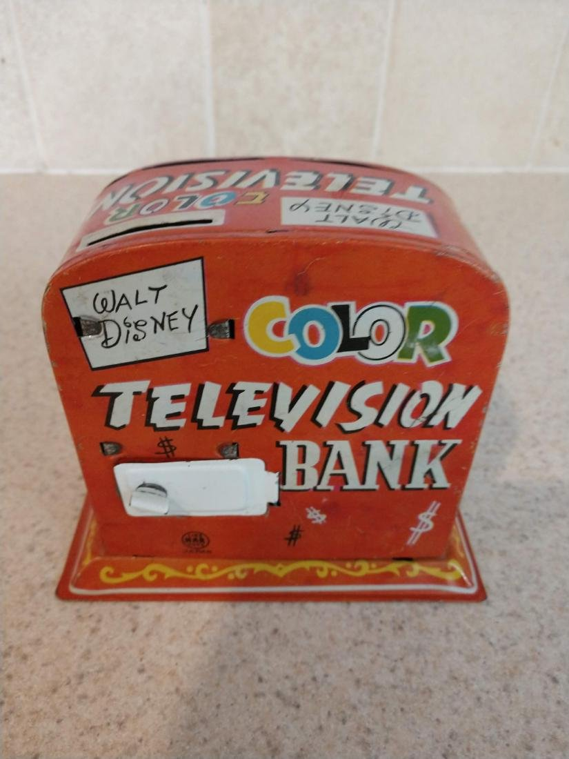Walt Disney Color Television Bank tin mechanical toy - 2