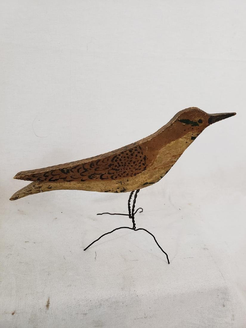 Flat carved and painted thrush ca 1920's - 4