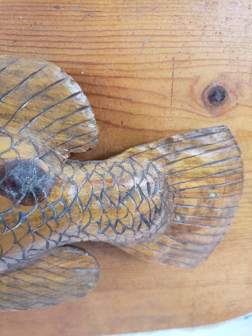 Carved bass plaque with rope trim ca 1940's - 2