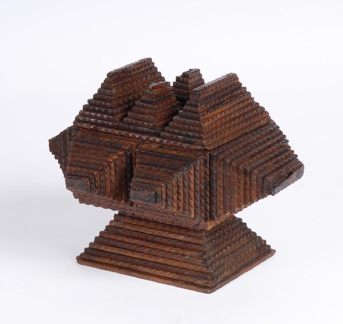 Tramp Art Pedestal Box - 2