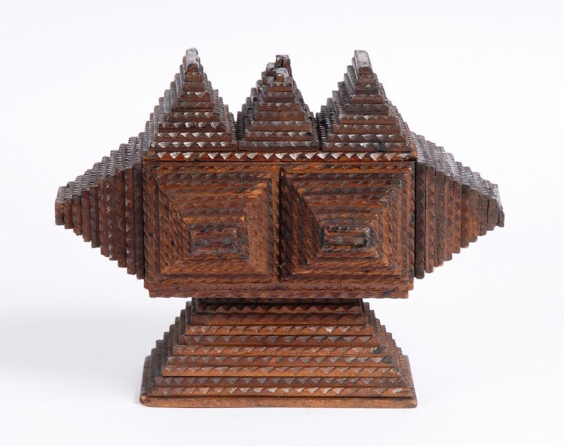 Tramp Art Pedestal Box - 3