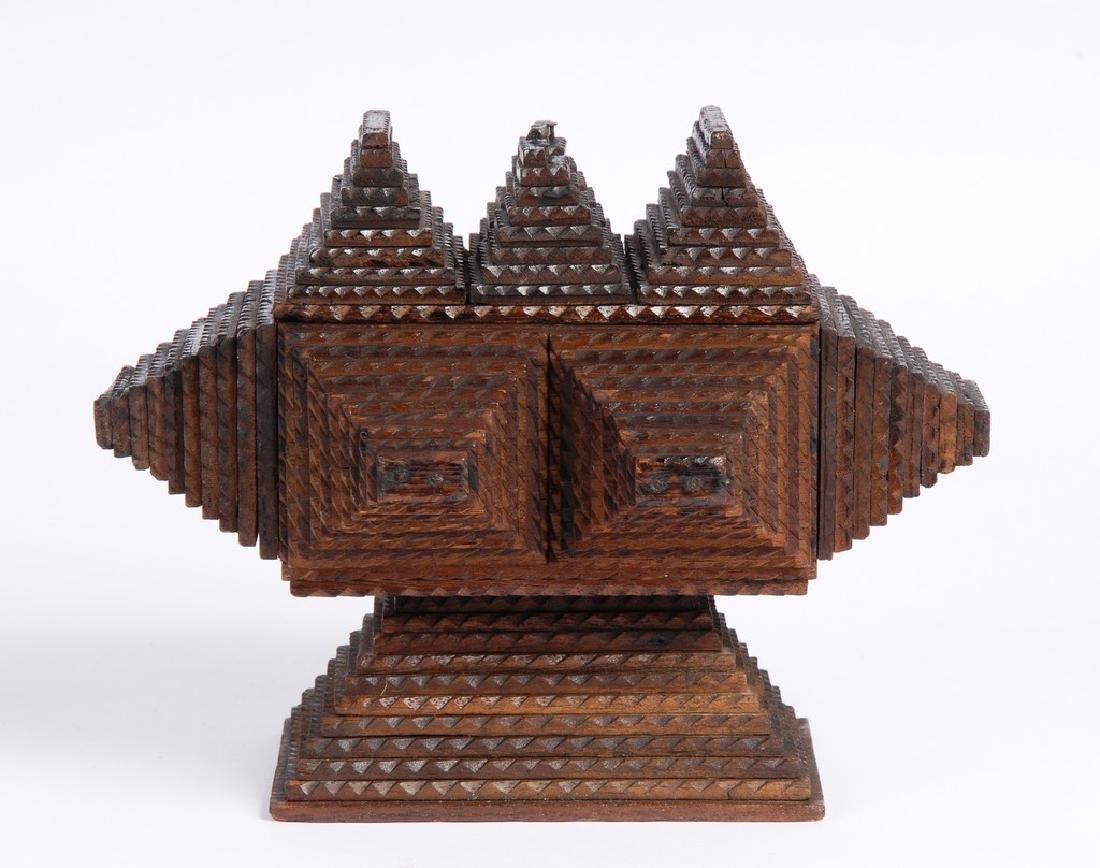 Tramp Art Pedestal Box - 4