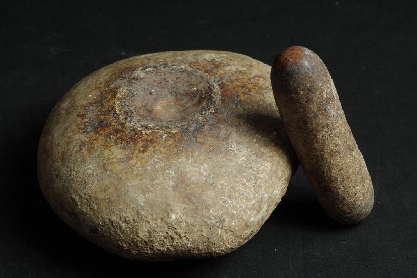 Old Shaman stone mortar and pestel