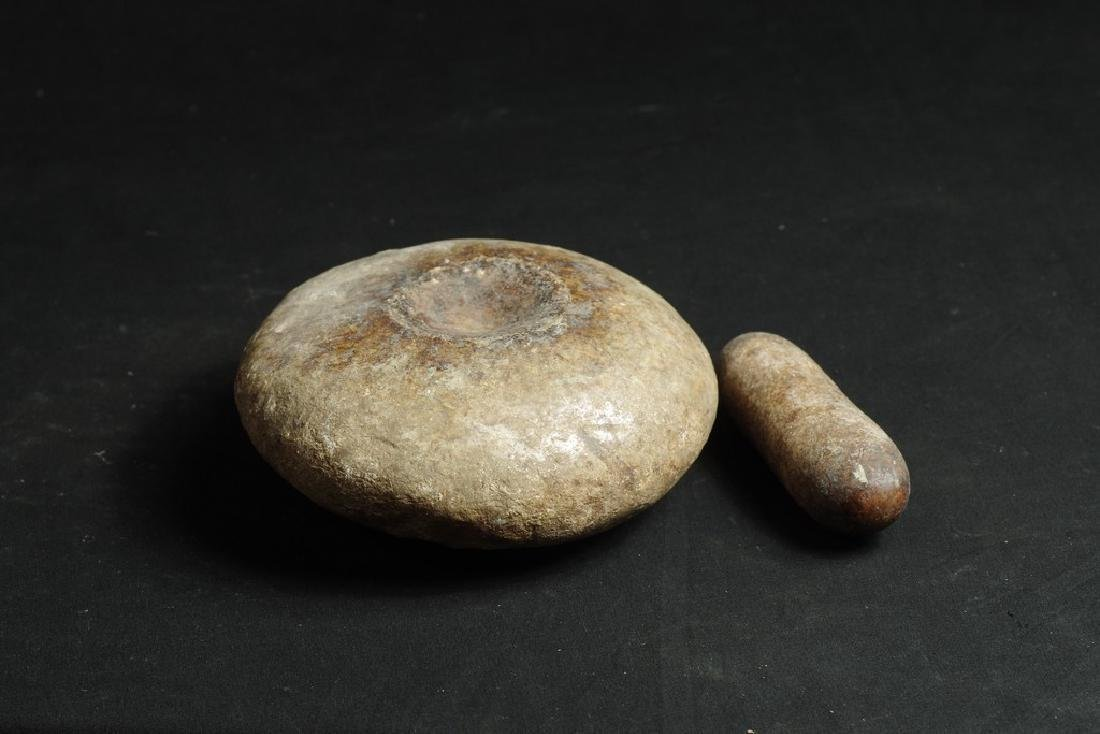 Old Shaman stone mortar and pestel - 2