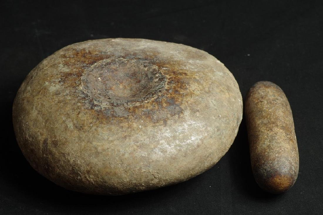Old Shaman stone mortar and pestel - 5