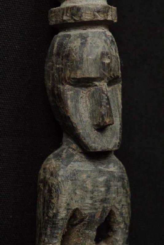 Pair of horn spoons carved as ancestors - 7