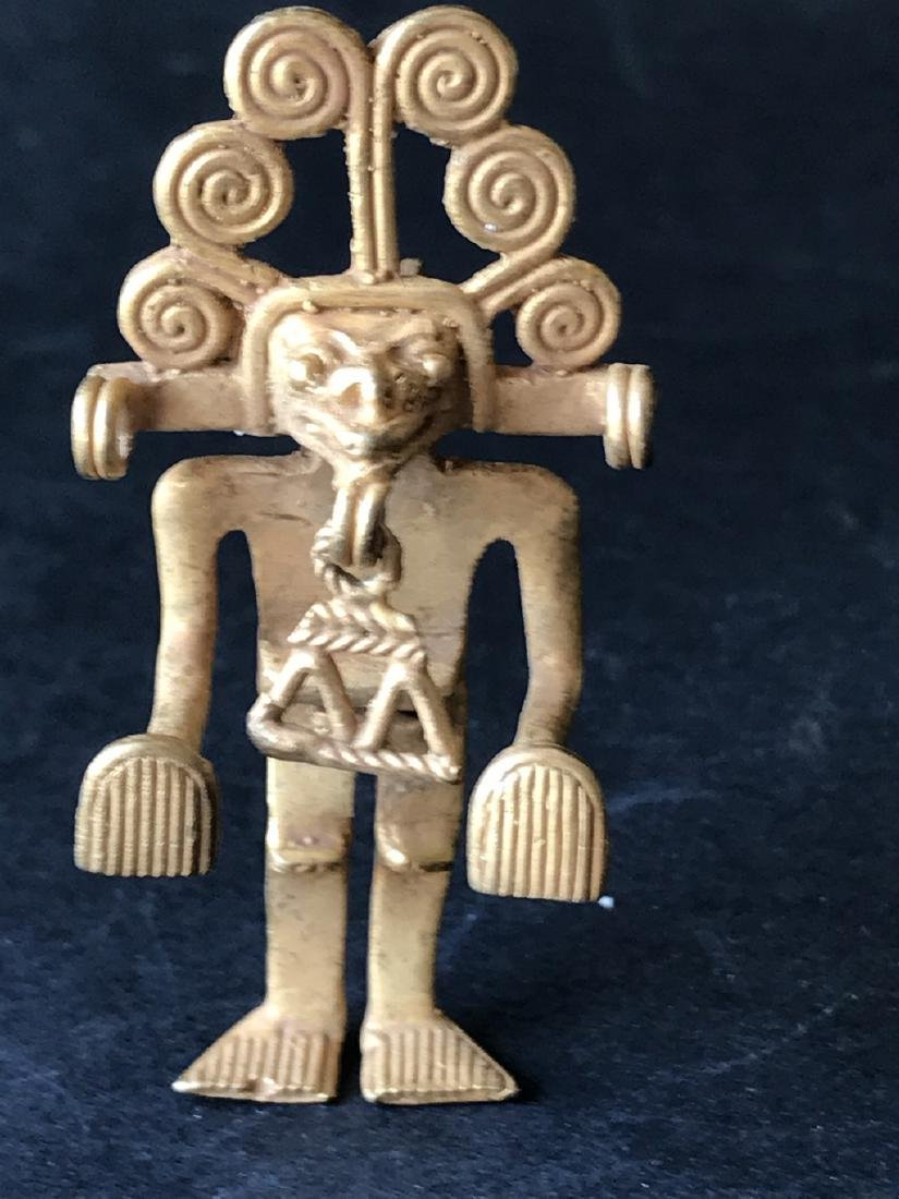 Pre-Columbian art in tumbago- Man shaped pendant with