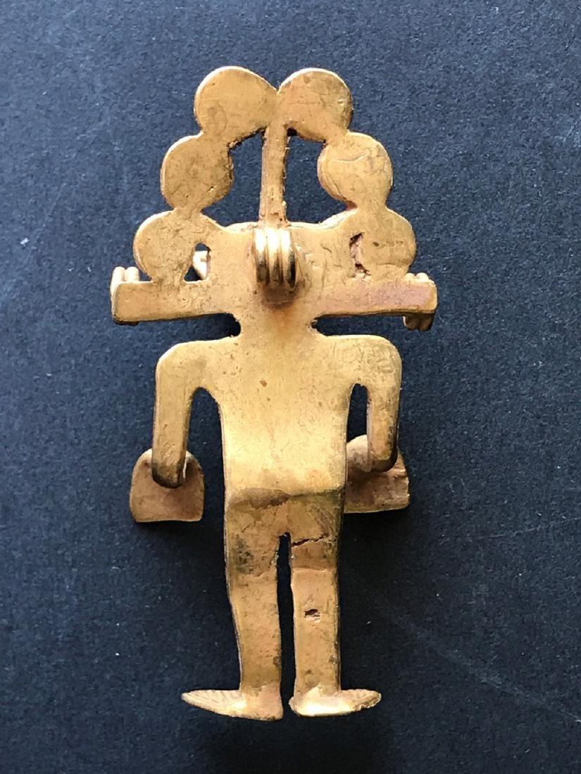 Pre-Columbian art in tumbago- Man shaped pendant with - 4