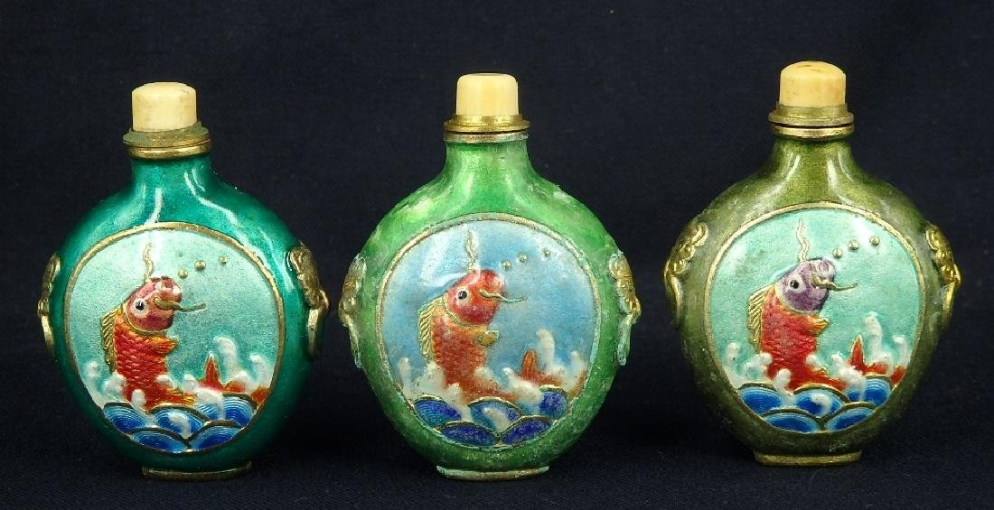 Lot of 3 fish design enamel brass snuff bottles
