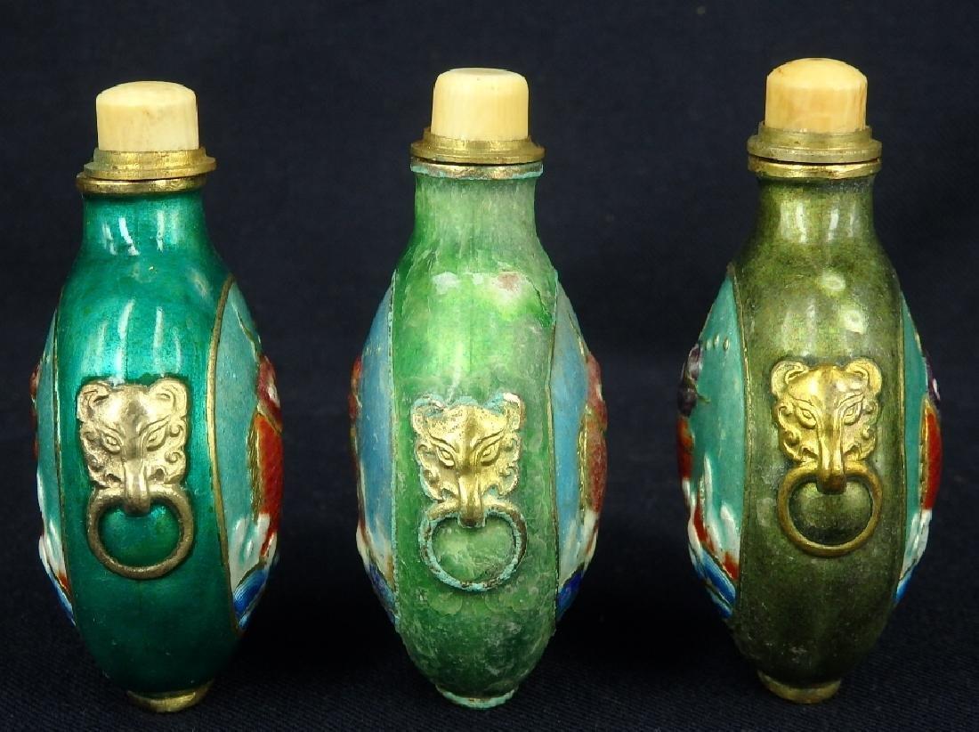 Lot of 3 fish design enamel brass snuff bottles - 2