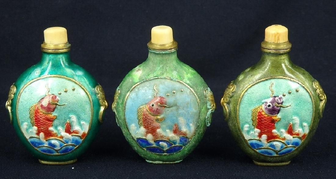 Lot of 3 fish design enamel brass snuff bottles - 3