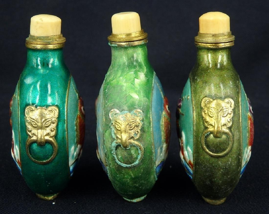 Lot of 3 fish design enamel brass snuff bottles - 4