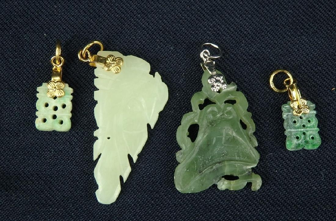 Antique lot of 4 hard stone pendant ornaments