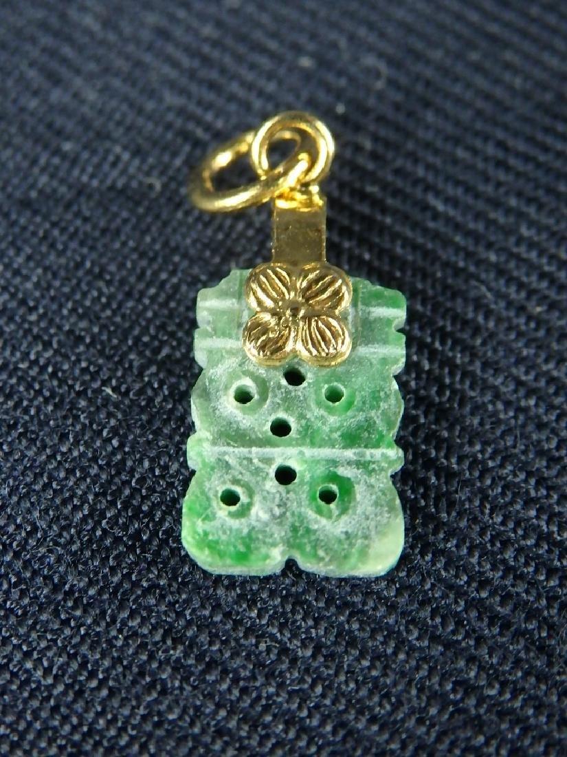 Antique lot of 4 hard stone pendant ornaments - 8