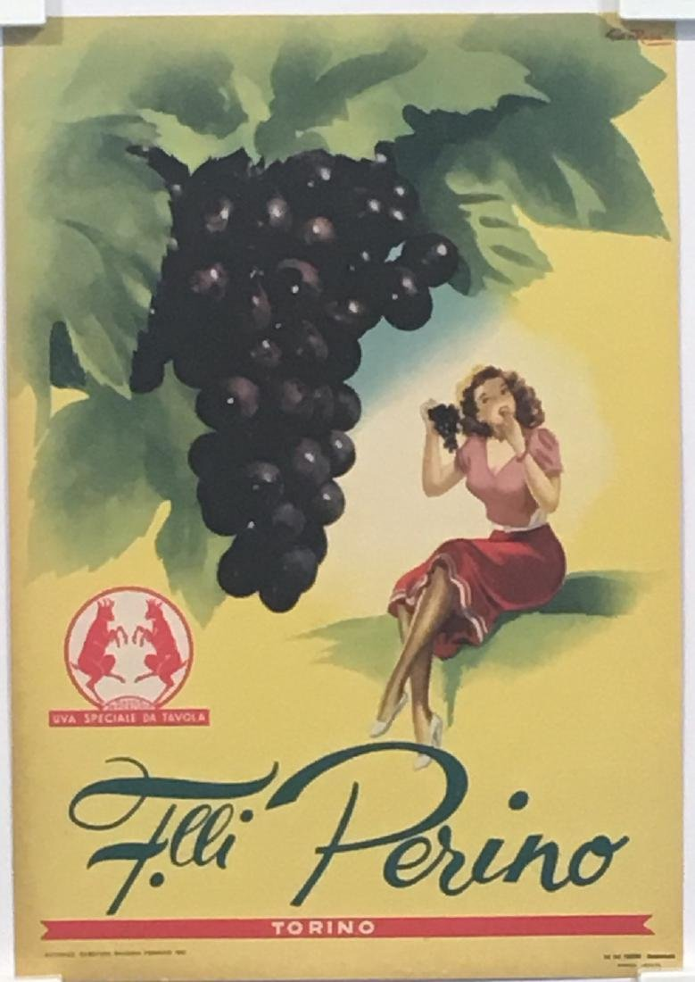 Perino Grapes Original Vintage Poster