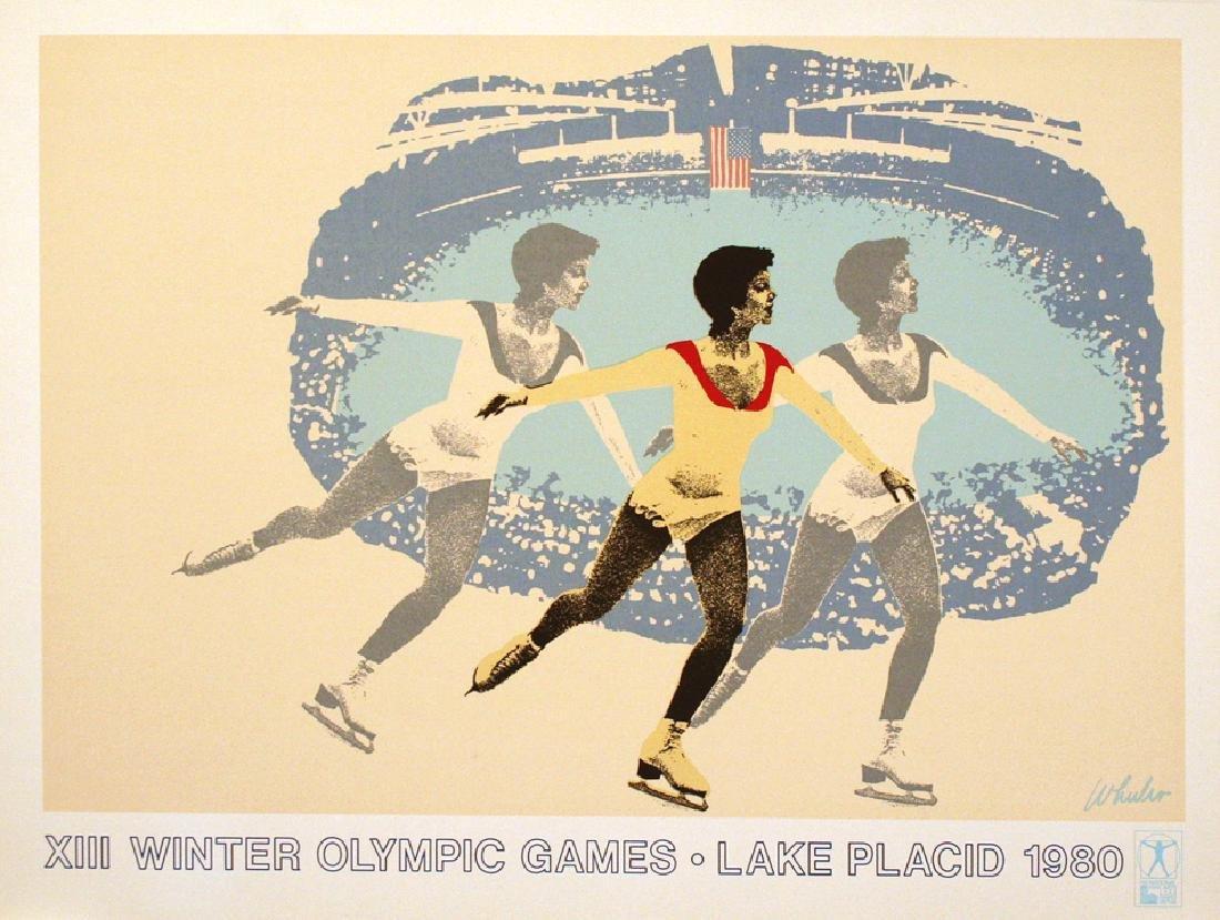 LAKE PLACID 1980 FIGURE SKATER ORIGINAL VINTAGE POSTER