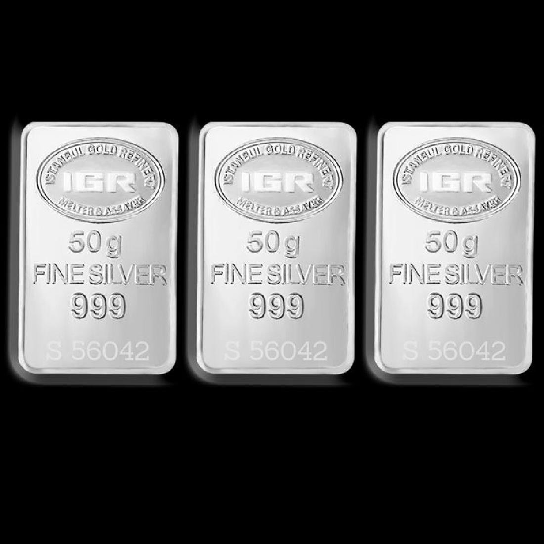 3 x 50 gr. - 999/1000 - Minted/ Sealed silver Bars - 2