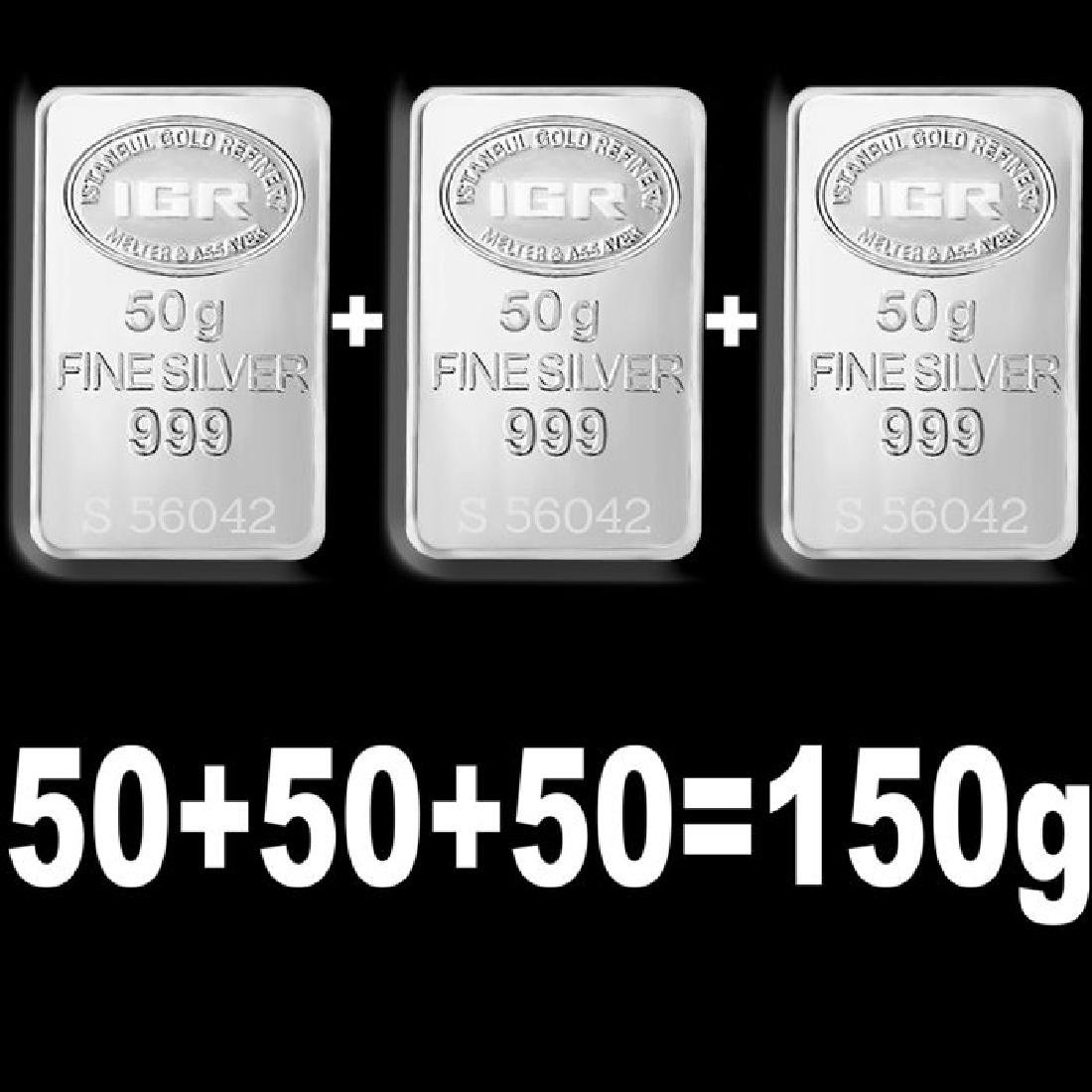 3 x 50 gr. - 999/1000 - Minted/ Sealed silver Bars - 3