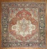 Antique Persian Heriz Serapi Square Rug 9.2X8.6