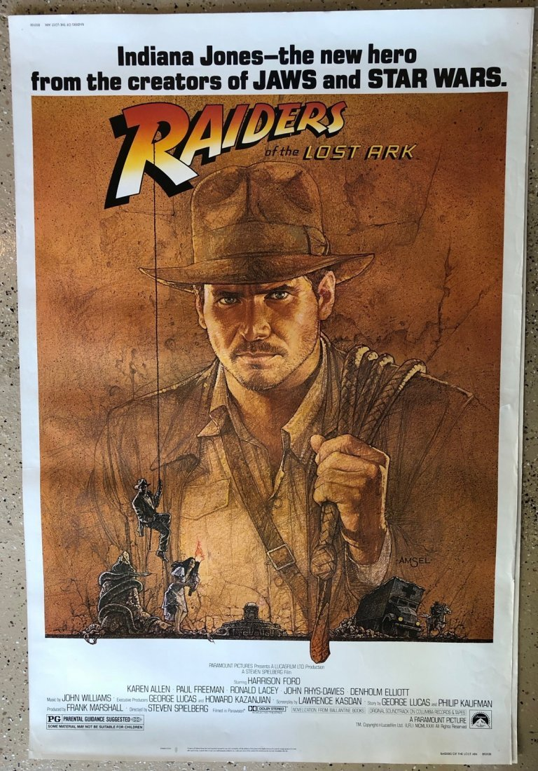 ORIGINAL RARE 40 x 60 INDIANA JONES RAIDERS OF THE LOST