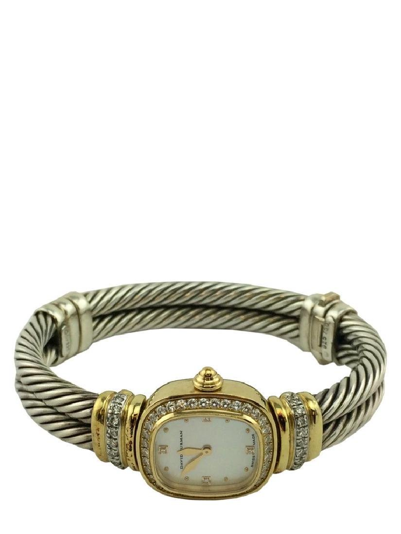 David Yurman Sterling Cable Band 18k Gold Chelsea Watch