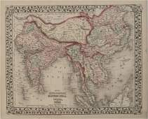 1876 Mitchell Map of China, India and SouthEast Asia