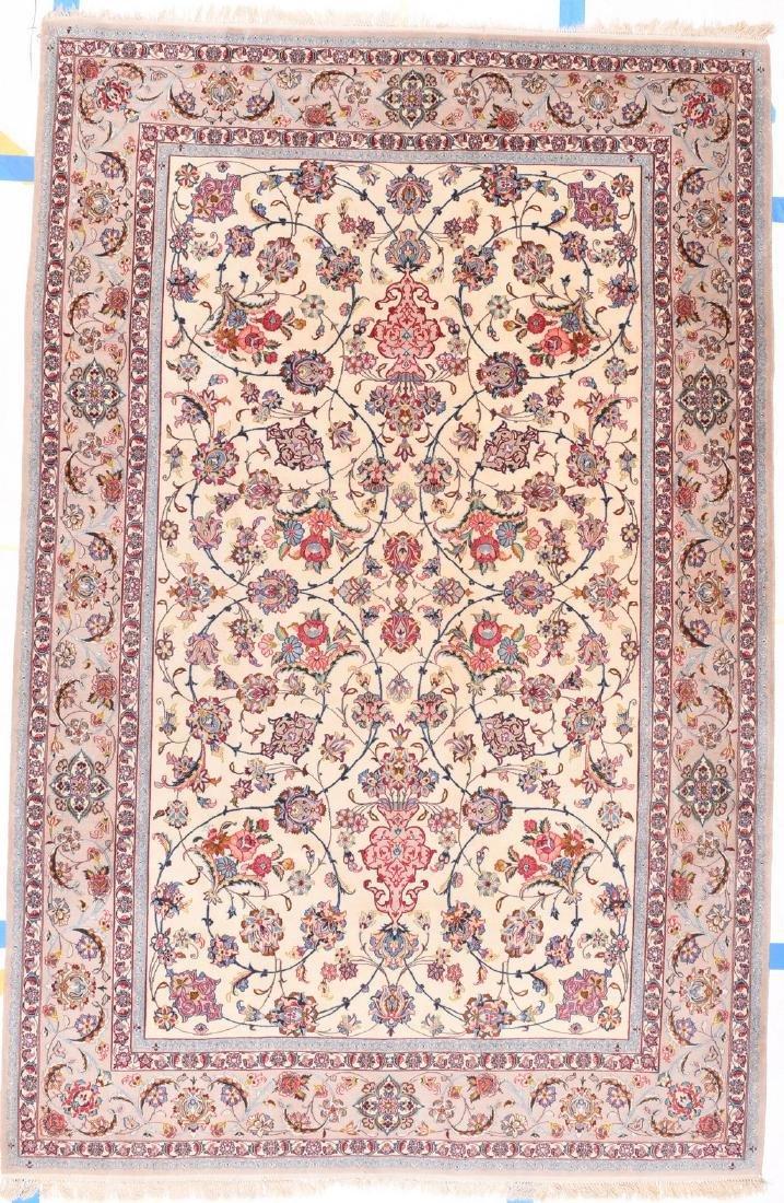 Fine Persian Esphehan Silk Foundation Rug 9.4x6